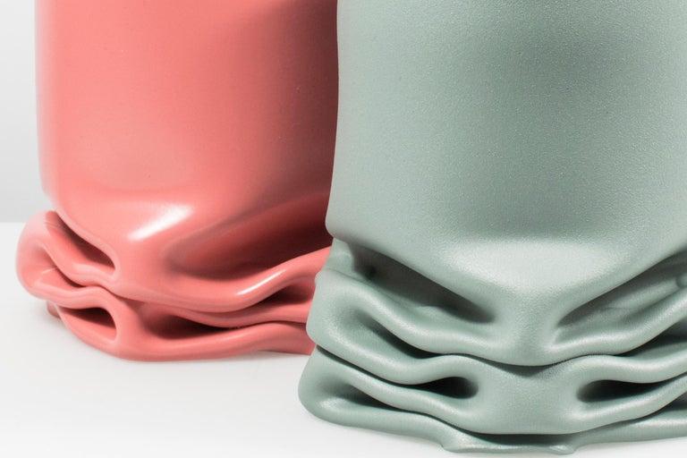 Modern Crumpled Steel Tall Pressure Vase in Pink by Tim Teven Studio For Sale