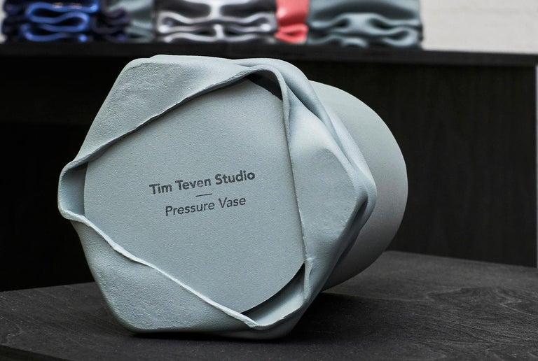 Dutch Crumpled Steel Tall Pressure Vase in Pink by Tim Teven Studio For Sale