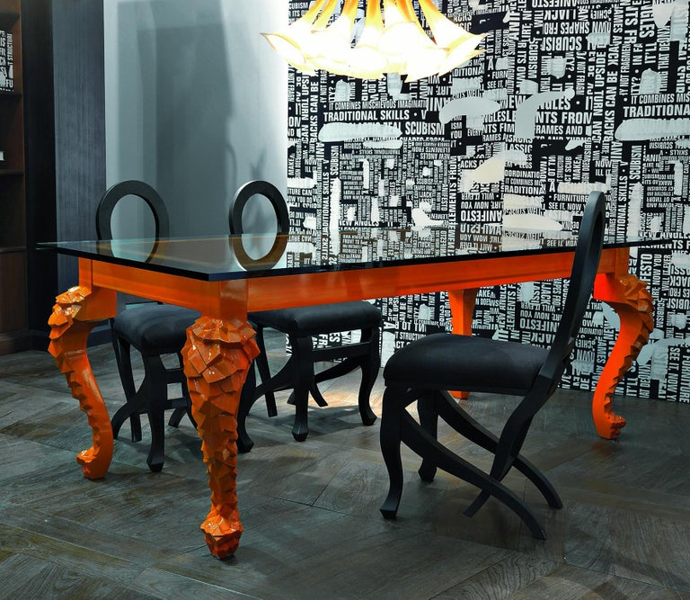 Italian Crusty Glass Top Dining Table with Carved Legs For Sale