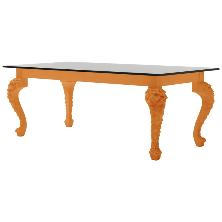 Crusty Glass Top Dining Table with Carved Legs For Sale