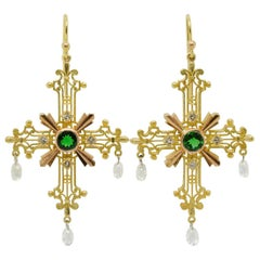 Crux Gemmata Earrings in 18 Karat Gold, Platinum, Tsavorite Garnets and Diamonds
