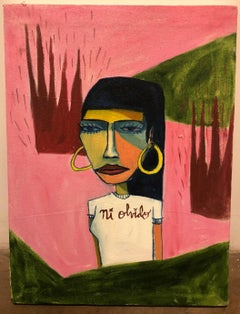 Cruz Ortiz, Yanaguana Girl in the Desert, Mexican American fine art painting