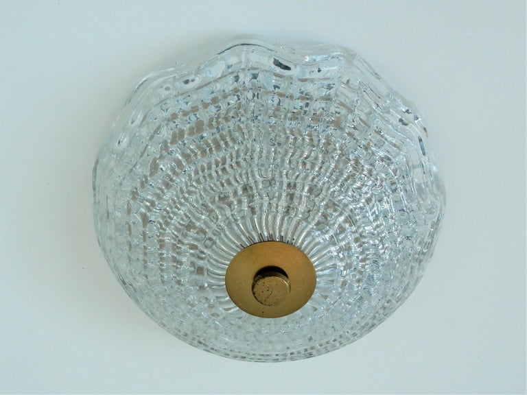 Mid-Century Modern Crystal and Brass Ceiling Lamp by Carl Fagerlund for Orrefors and Lyfa, Sweden For Sale