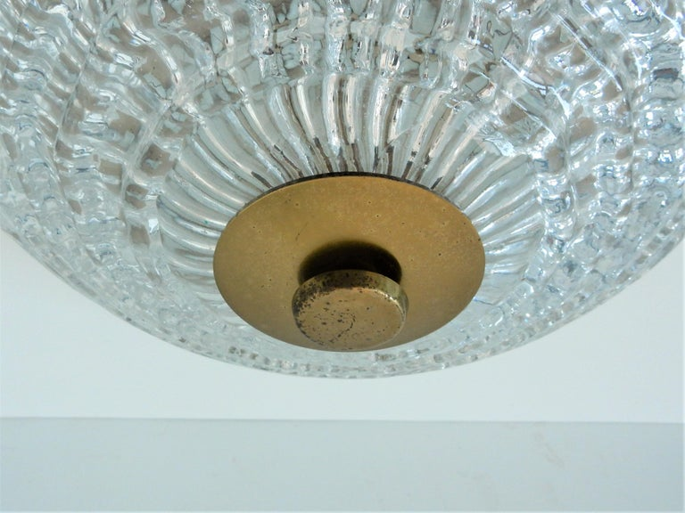 Swedish Crystal and Brass Ceiling Lamp by Carl Fagerlund for Orrefors and Lyfa, Sweden For Sale