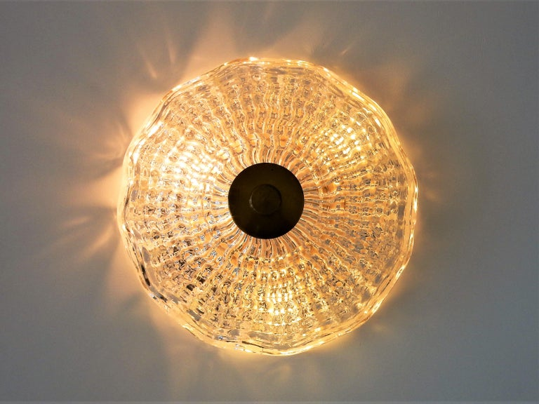 Crystal and Brass Ceiling Lamp by Carl Fagerlund for Orrefors and Lyfa, Sweden In Good Condition For Sale In Steenwijk, NL