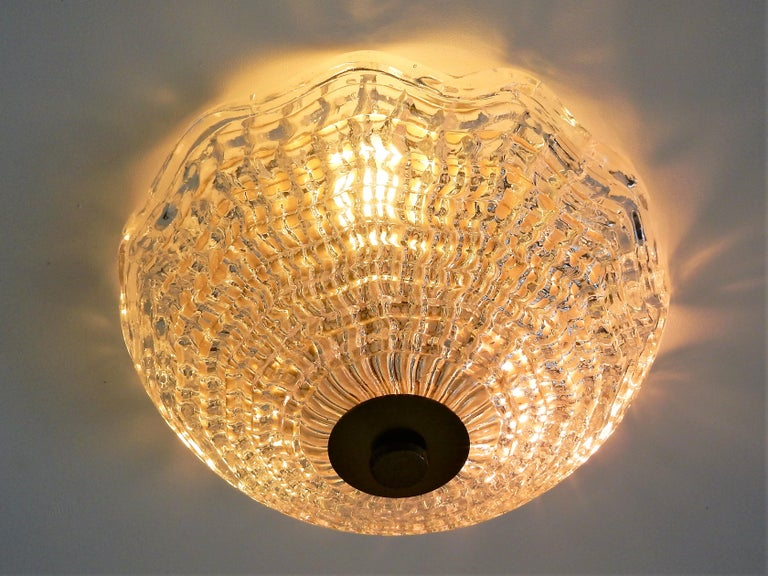 Mid-17th Century Crystal and Brass Ceiling Lamp by Carl Fagerlund for Orrefors and Lyfa, Sweden For Sale