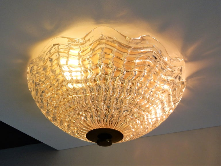 Crystal and Brass Ceiling Lamp by Carl Fagerlund for Orrefors and Lyfa, Sweden For Sale 1