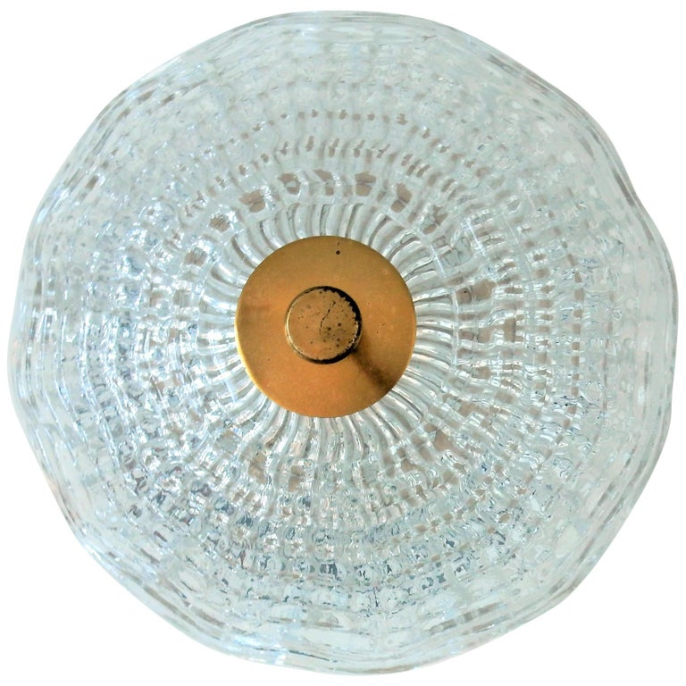 Crystal and Brass Ceiling Lamp by Carl Fagerlund for Orrefors and Lyfa, Sweden For Sale