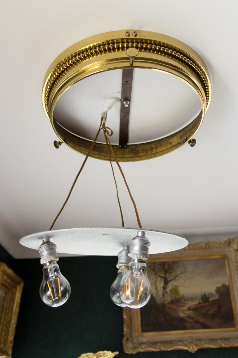 Crystal and brass flush mount ceiling three light fixture 1930s for sale 3