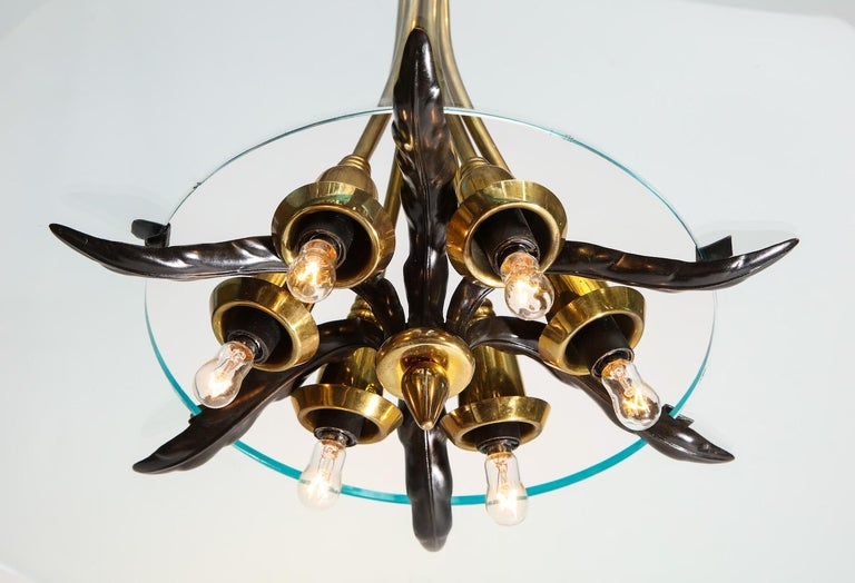 Italian Crystal and Brass Hanging Fixture by Lumi For Sale