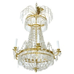 Crystal and Brass Swedish Chandelier