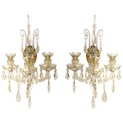 Crystal and Bronze 1940s Three-Arm Wall Electrified Wall Sconces