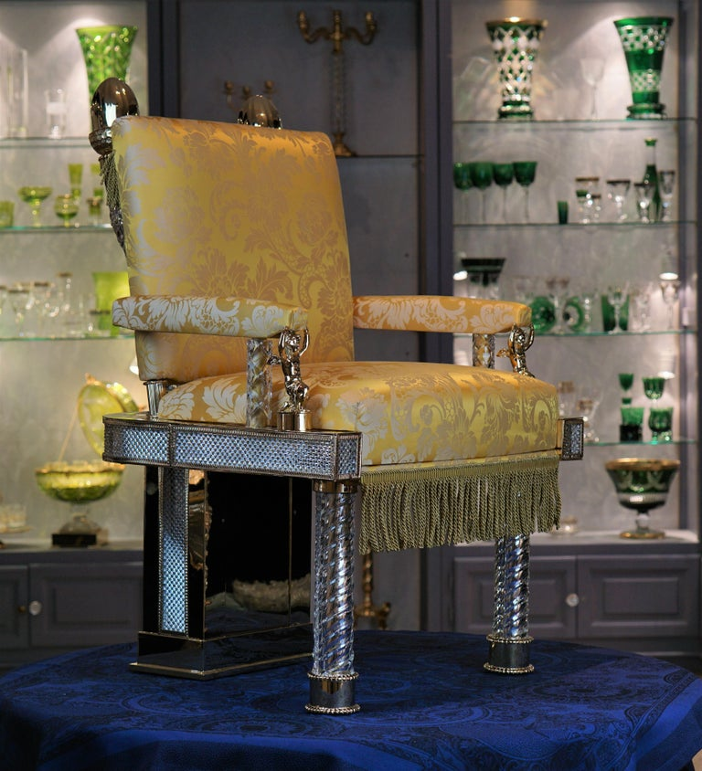 Baroque Crystal and Bronze Chair For Sale