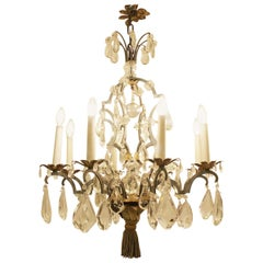 Crystal and Bronze Eight-Light Chandelier, 19th Century