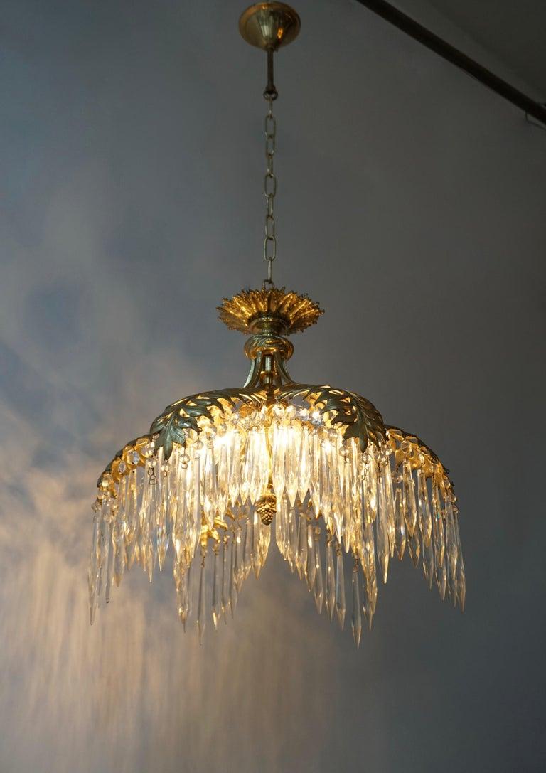 Crystal and Bronze Gilt Palm Leaf Chandelier by Maison Jansen 4