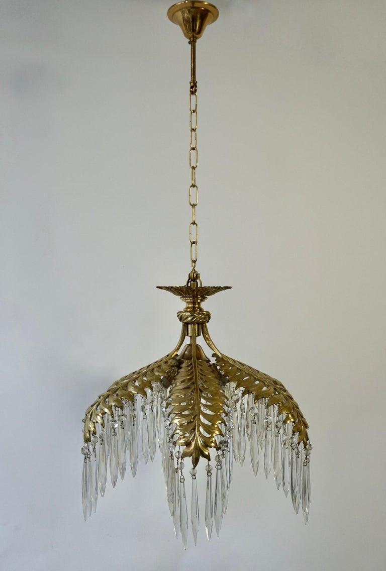 Crystal and Bronze Gilt Palm Leaf Chandelier by Maison Jansen 5
