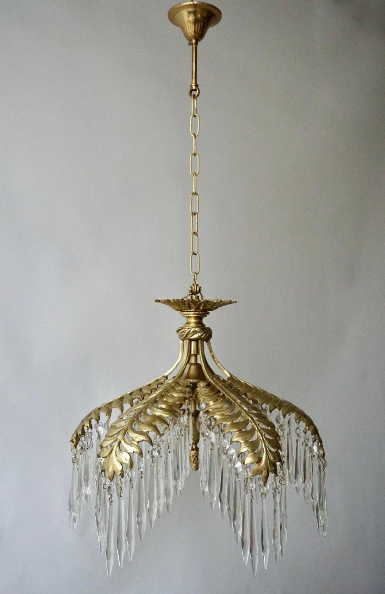 Crystal and Bronze Gilt Palm Leaf Chandelier by Maison Jansen 6