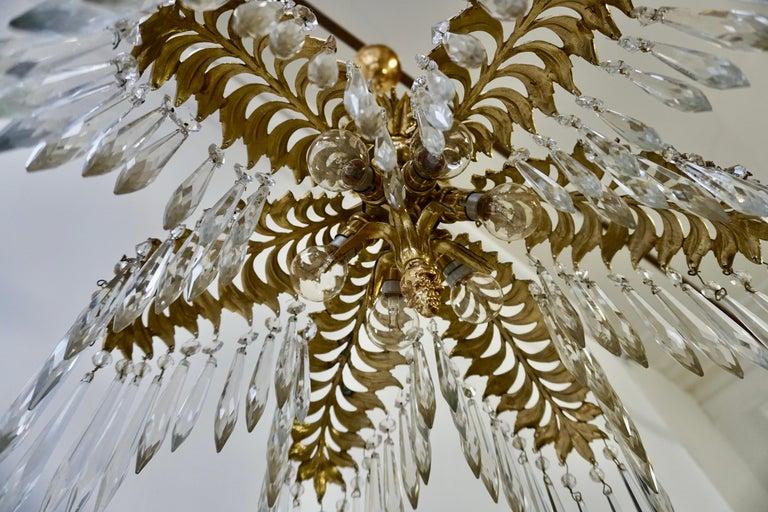 Crystal and Bronze Gilt Palm Leaf Chandelier by Maison Jansen 7