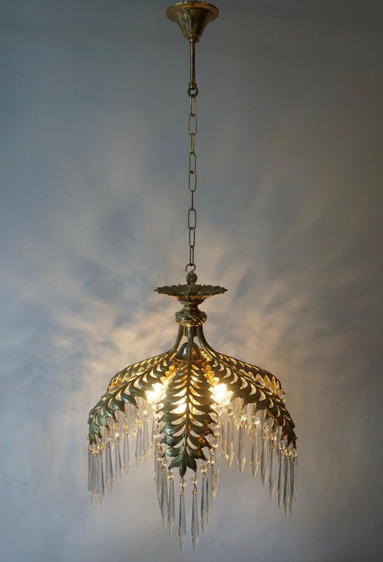 Hollywood Regency Crystal and Bronze Gilt Palm Leaf Chandelier by Maison Jansen