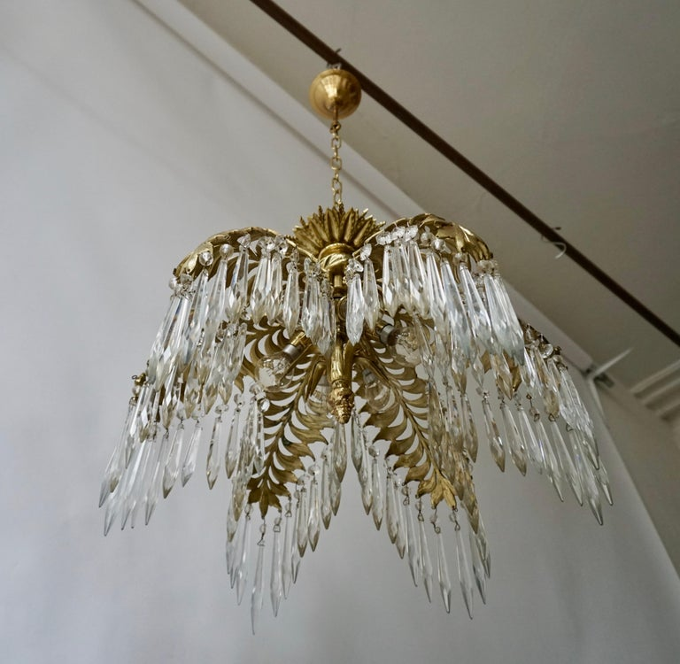 Crystal and Bronze Gilt Palm Leaf Chandelier by Maison Jansen In Good Condition In Antwerp, BE