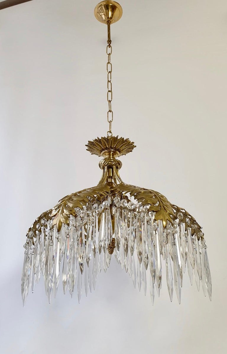 Crystal and Bronze Gilt Palm Leaf Chandelier by Maison Jansen 1