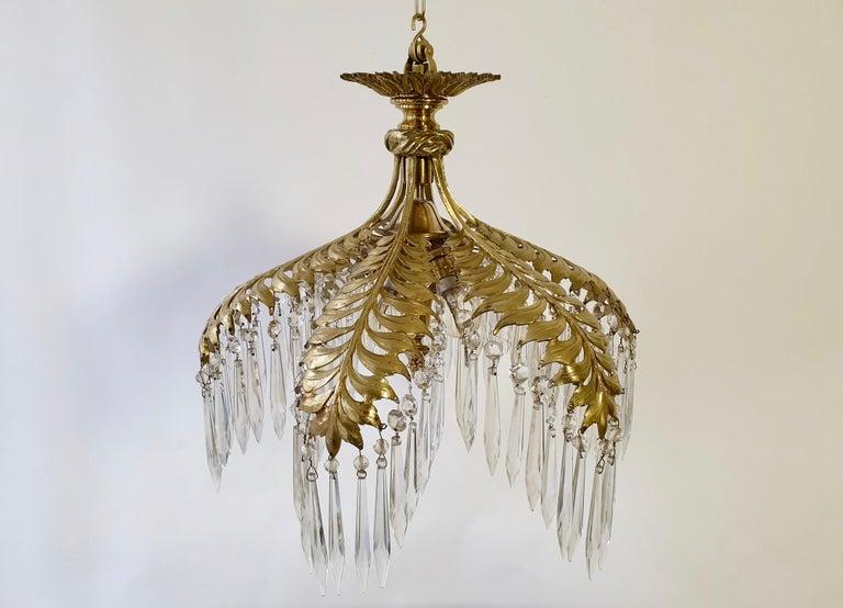 Crystal and Bronze Gilt Palm Leaf Chandelier by Maison Jansen 2