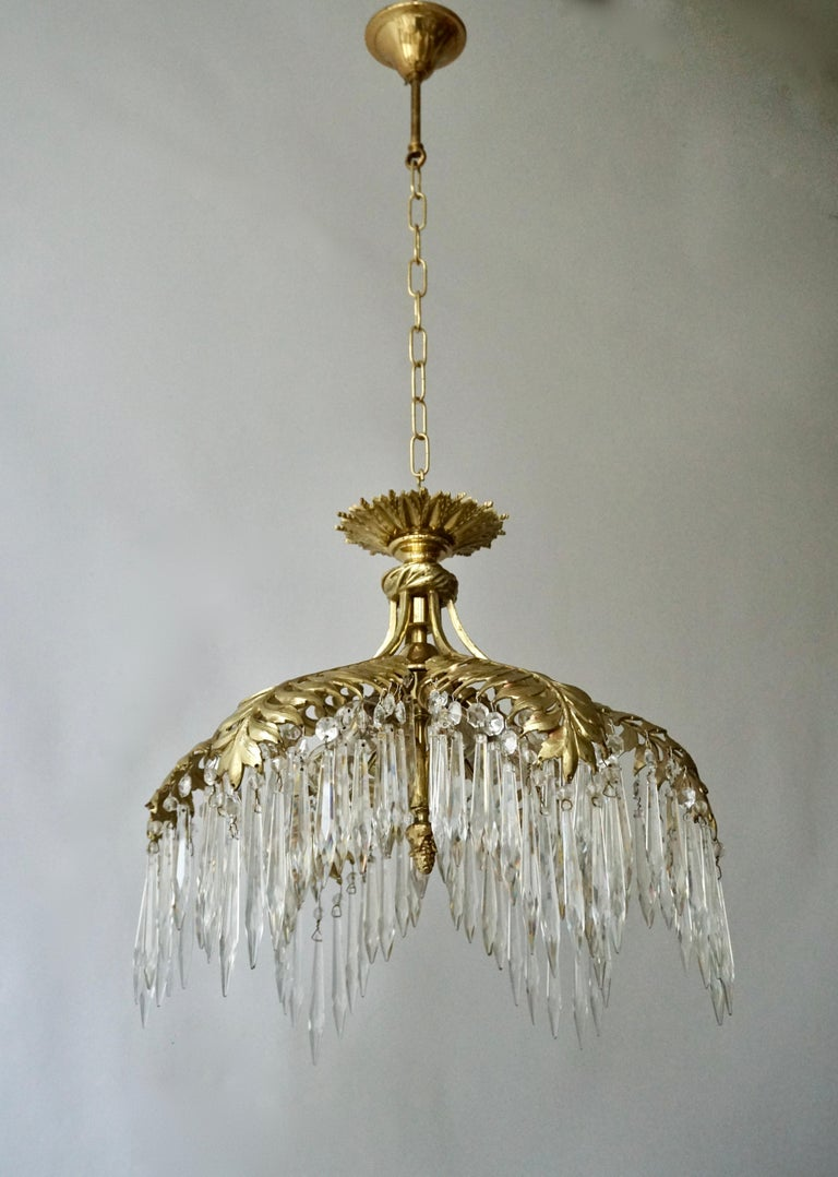 Crystal and Bronze Gilt Palm Leaf Chandelier by Maison Jansen 3