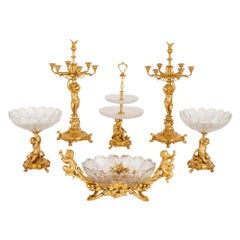 Crystal and Gilt Bronze Six-Piece Centrepiece Set by Christofle