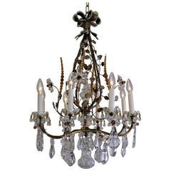 Crystal and Gilt Iron 1930s Chandelier in Style of Maison Baguès