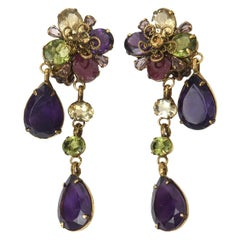 Crystal and Glass Iradj Style C&D Clip on Dangle Earrings