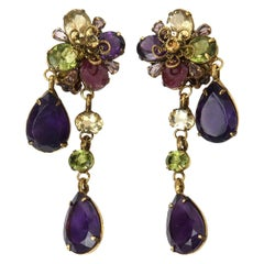 Crystal and Glass Iradj Style Green and Purple C&D Clip on Dangle Earrings