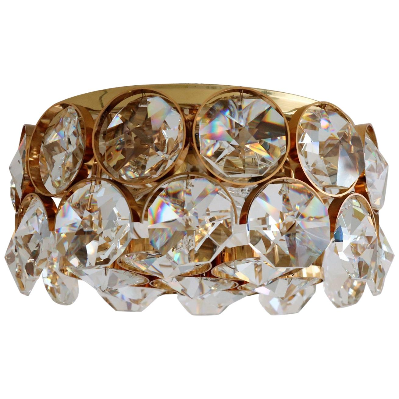 Midcentury Crystal and Gold-Plated Brass Flush Mount Lighting by Palwa, 1960s