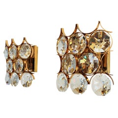 Crystal and Gold-Plated Brass Wall Sconces by Palwa, 1960s, Set of Two
