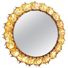 Crystal and Gold Plated Illuminated Brass Mirror by Palwa, 1960s