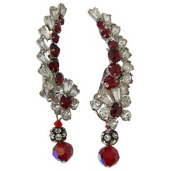 Crystal and Ruby Ear Clips