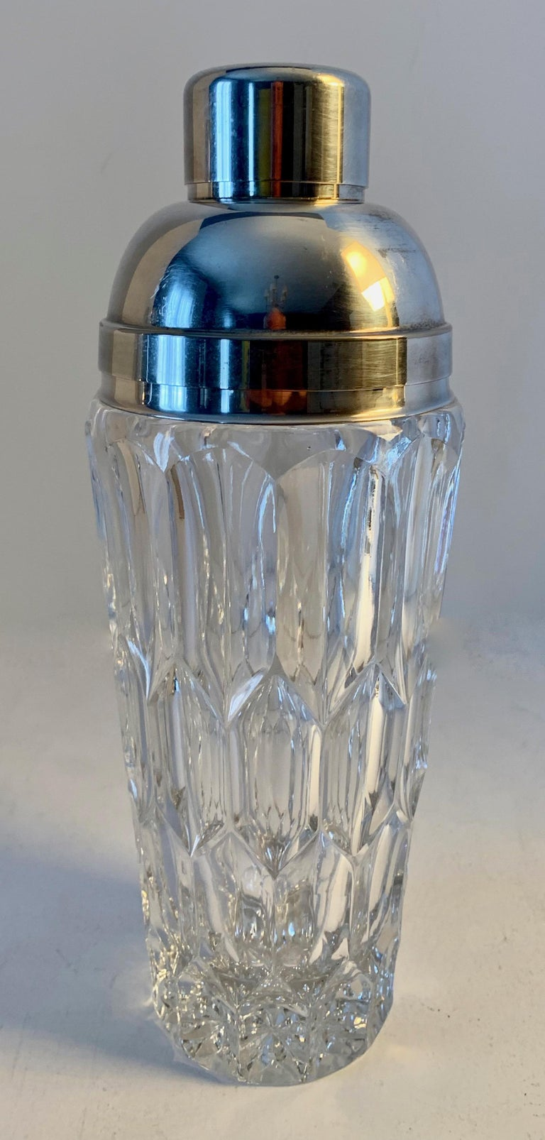 Crystal and silver plate cocktail shaker, a handsome and sophisticated midcentury cocktail shaker well suited for any bar. The straining top is fitted with a cork, perfect for the best bar!