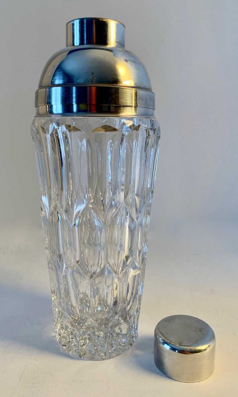 Mid-Century Modern Crystal and Silver Plate Cocktail Shaker For Sale