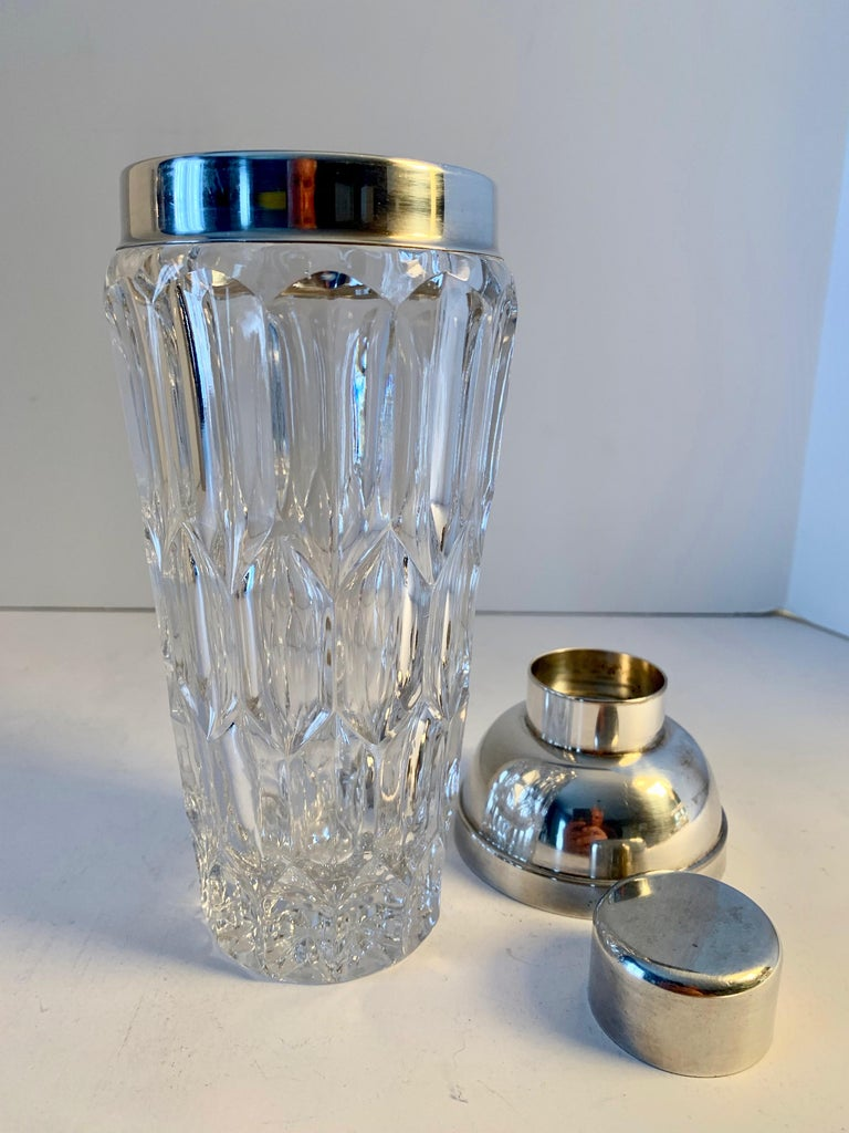 Crystal and Silver Plate Cocktail Shaker In Good Condition For Sale In Los Angeles, CA