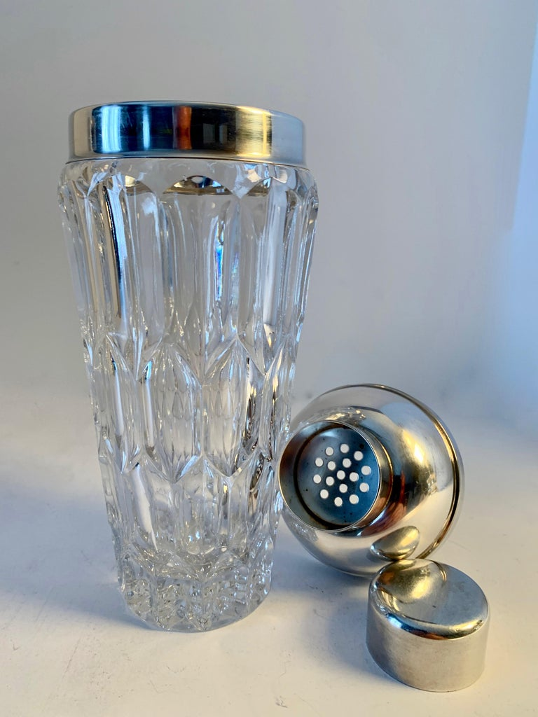 20th Century Crystal and Silver Plate Cocktail Shaker For Sale