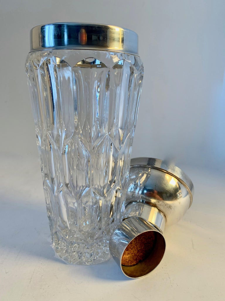 Crystal and Silver Plate Cocktail Shaker For Sale 1