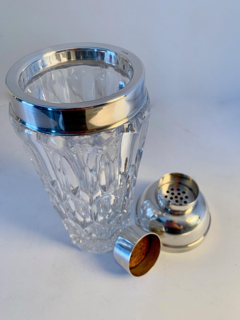 Crystal and Silver Plate Cocktail Shaker For Sale 2