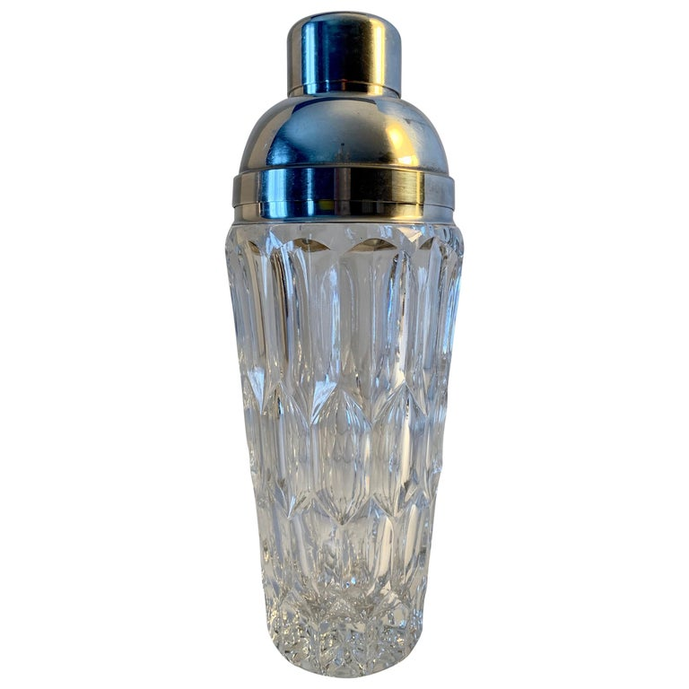 Crystal and Silver Plate Cocktail Shaker For Sale