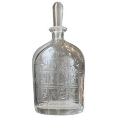 Crystal Art Deco French Carved Carafe, Signed