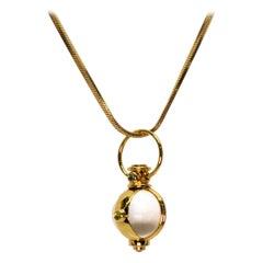 Crystal Ball Charm 18 Karat Yellow Gold Necklace