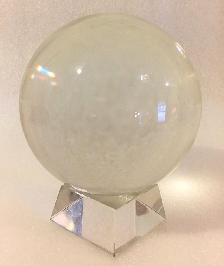 Mid-Century Modern Crystal Ball on Acrylic Stand For Sale