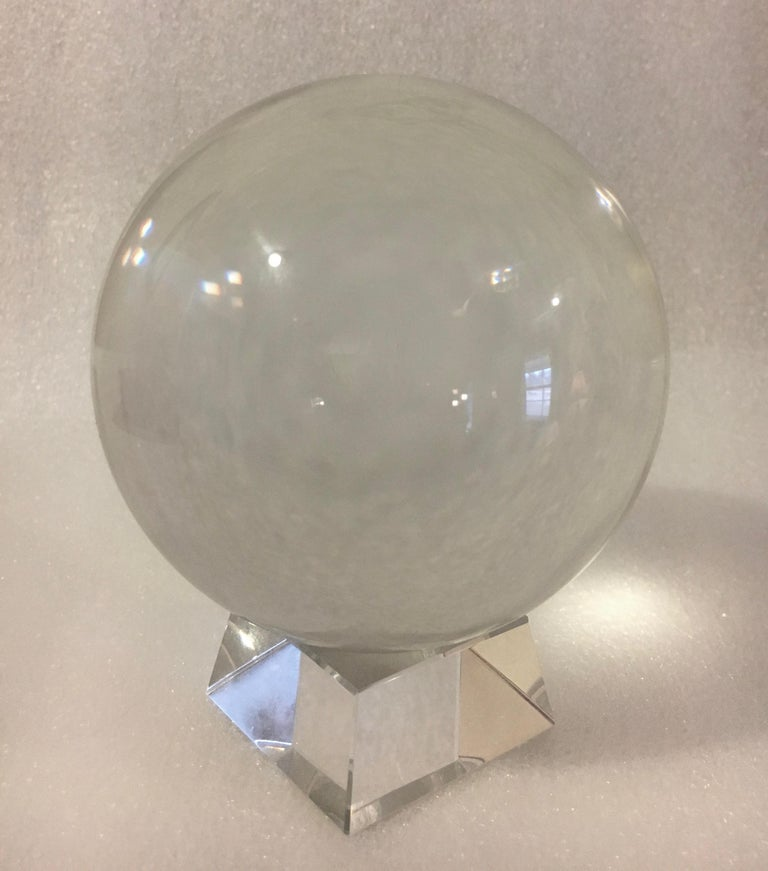 Crystal Ball on Acrylic Stand In Excellent Condition For Sale In Los Angeles, CA