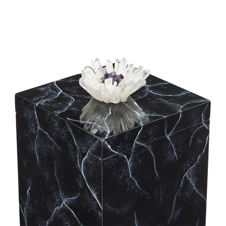 Box crystal black with hand painted wooden structure