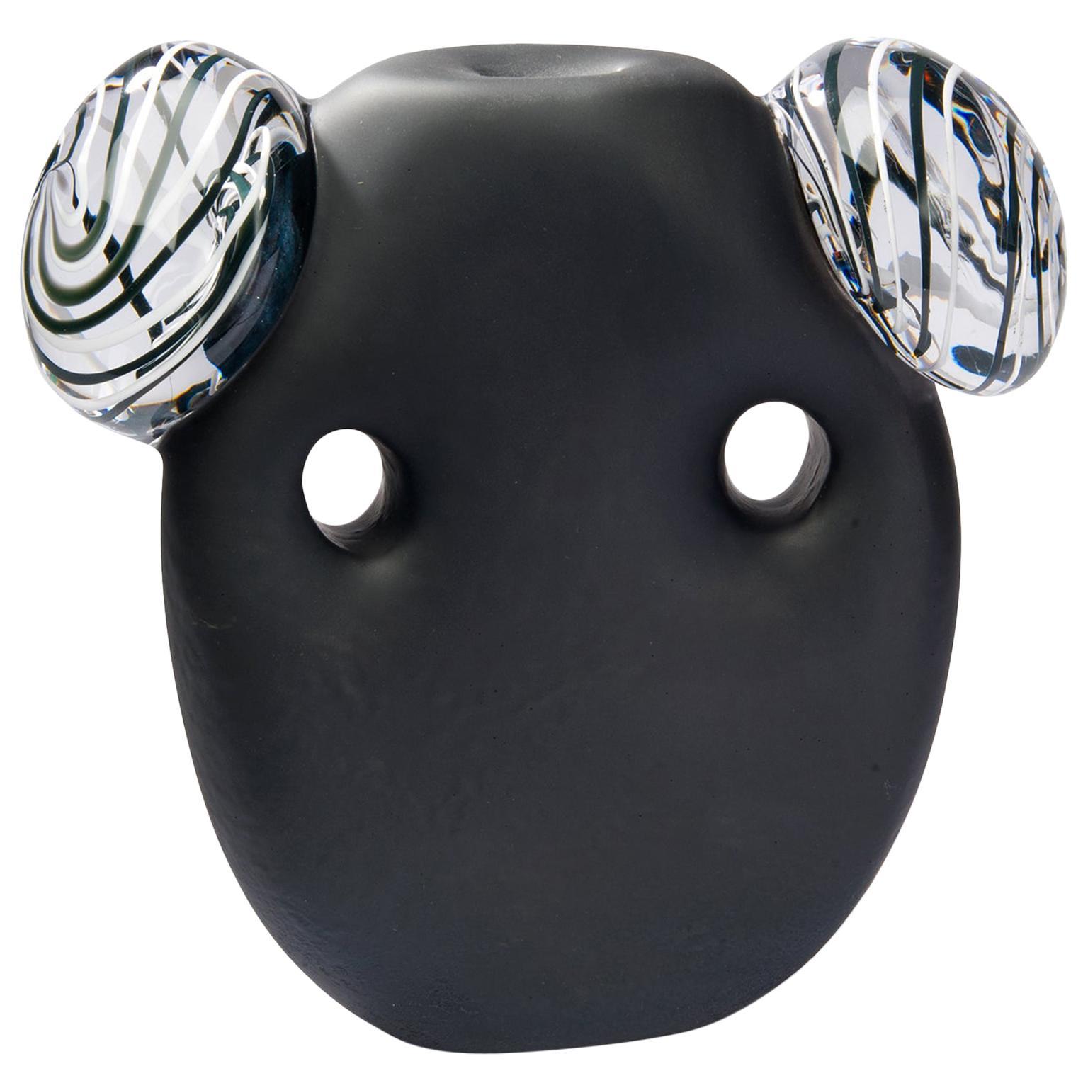 Glass object. Crystal Black Mask White Ears.