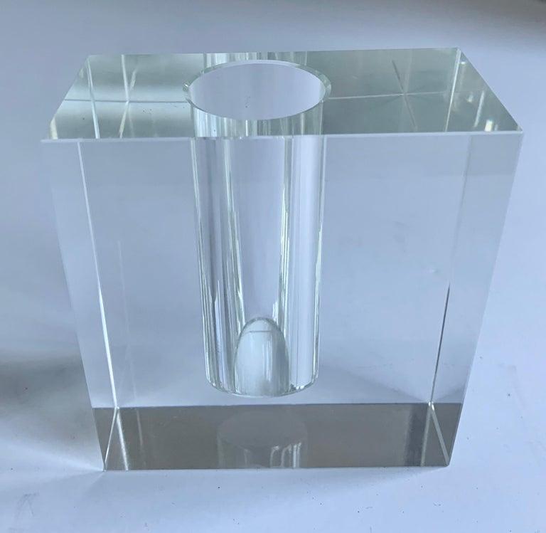 Art Deco Crystal Block Form Vase For Sale