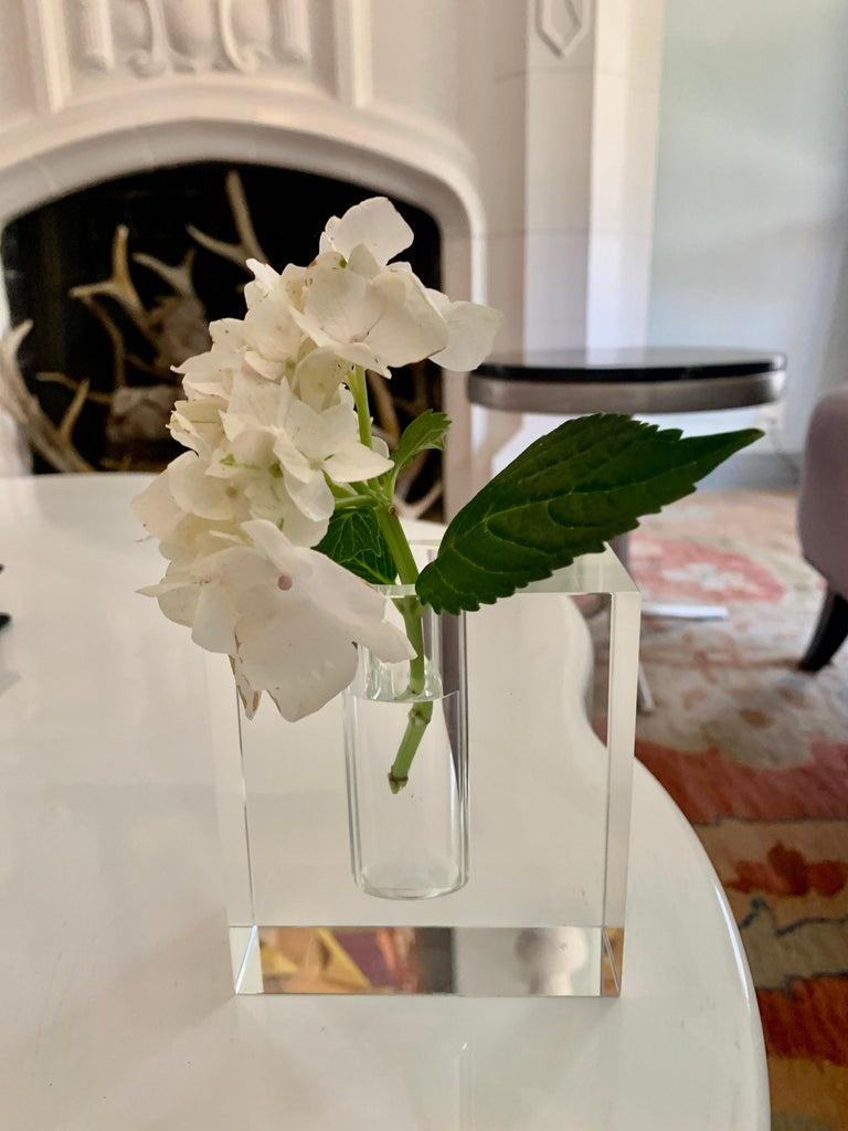 French Crystal Block Form Vase For Sale